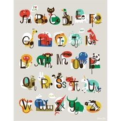 Cute animal ABC print poster by Helen Dardik.