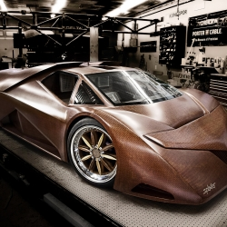Joe Harmon made a super car out of wood. Really awesome: replacing standard carbon fiber with woven cherry veneer. That's just super cool.