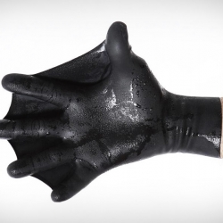 DarkFin Gloves increase surface area by 70% thus requiring less energy to tread water. Ideal for water sports and sky diving.