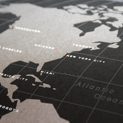New hand-silkscreened world cities map by These Are Things! Metallic silver, gray, white, and red on black paper. First edition available now!
