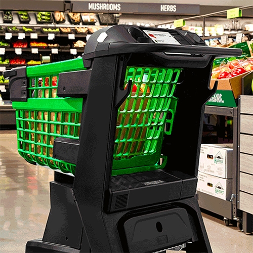 "Amazon Dash Cart - now in LA at the first Amazon Fresh market in Woodland Hills. It lets you ""skip the checkout line and roll out when you're done"" - complete with build in grocery list screen, scanner, scale, and more."