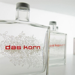 Packaging by kakoii for Das Korn, a German distilled wheat liquor.