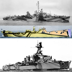 In WWI, Artist and Naval Officer Norman Wilkinson invented Dazzle Camouflage to confuse the enemy. Using bright, loud colours and contrasting diagonal stripes, ships became works of art
