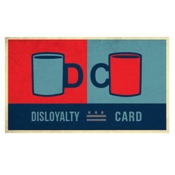Disloyalty Card ~ independent coffee shops (aka not starbucks) have been spreading this card in certain cities. Visit the 6 coffee shops listed and get a free coffee at the one of your choice.