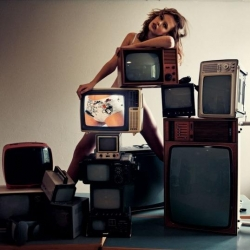 Very creative photography using retro TV sets to show underwear in new Diesel Intimate 2009 campaign.