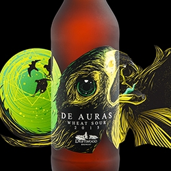 "De Auras Wheat Sour, the latest in Driftwood Brewery's ""Bird of Prey"" series of sour beers, features a peregrine falcon's unnerving sideways leer by Hired Guns Creative."