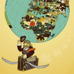 Cute illustration of the world by UK based illustrator Deanne Halsall.