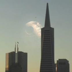 Death Star over San Francisco.