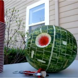 Death Star Watermelons and Cantaloupes at Kuriositas.
