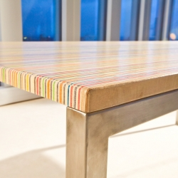 If you love seven ply, you wil love the DecksTop. A table carefully built from used skateboards.