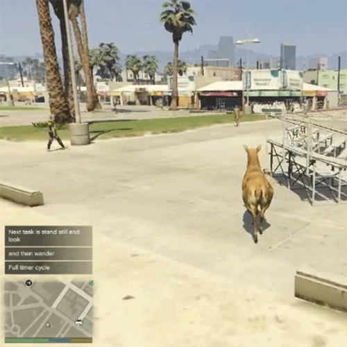Brent Watanabe San Andreas Streaming Deer Cam - this modified version of Grand Theft Auto V creates and follows a deer wandering San Andreas. It's autonomous and interacts with the existing GTA V artifical intelligence.