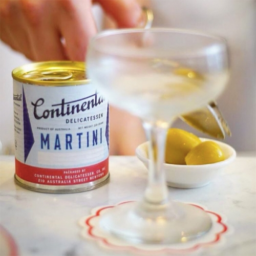 MarTINis? Martinis served in tin cans where you pop and pour. Cute labels at Continental Deli in Newton, NSW and at Megaro Bar in London. Is this a new packaging trend to come?