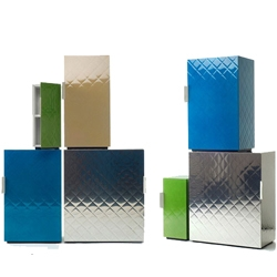 Delicious, by Mathieu Lehanneur is a stackable storage system that was inspired by the quilted wall sheets of Manhattan hot-dog stands.