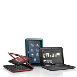 The Dell Inspiron Duo tablet. Impressive hybrid that is part netbook, part tablet with a 10-inch screen, dual-core Atom N550 and running Windows 7 Premium.