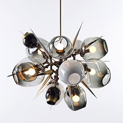 Lindsey Adelman has some stunning brass/blown glass lighting pieces. Smitten by the Burst!