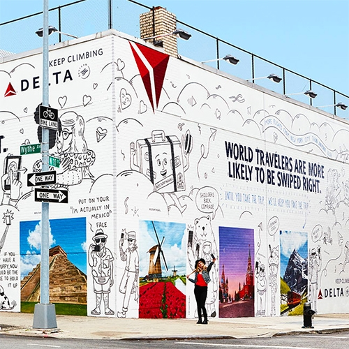 "The #DeltaDatingWall in partnership with Tinder on Wythe in Williamsburg, Brooklyn by Wieden + Kennedy New York. Fun idea - ""World travelers are more likely to be swiped right."""