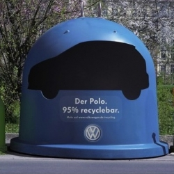 Our task was to tell people the new Polo is made from 95% recyclable materials. People in Germany are used to recycling glass and paper, so we just had to expand this matter of course for the new Polo with the car recycling drop box.