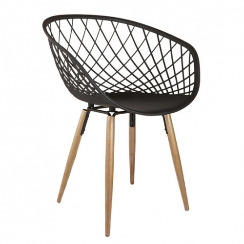 Sidera Chair from CB2. Made-in-Italy, sleek molded plastic sculpts a woven crosshatch pattern on tapered solid ash wood legs.