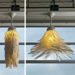 Getting the idea from an automated carwash experienced, designer Philippe Malouin came up with the idea of a spinning lamp.