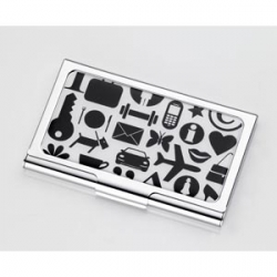 i love the bold icons on this troika business card holder.