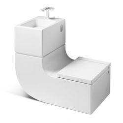 Milan designers Gabriele and Oscar Buratti have collaborated with bathroom brand Roca to create a combined toilet and wash basin called 'W+W', where waste water from the sink is used to fill the toilet cistern.
