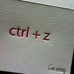 "Single ""ctrl + z, I'm sorry"" letterpress card. A geeky fun way to express an apology!"