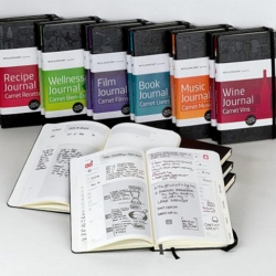 "The Moleskine Passion Journals feature layouts oriented toward each of ""life's great passions"", with journals made specifically for wine, food, wellness, film, books and movies. [see also #25626]"