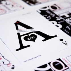 Typographic playing cards.