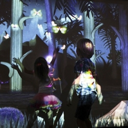 Night Bright by Design I/O is an interactive installation of nocturnal discovery where children use their bodies to light up the nighttime forest and discover the creatures that inhabit it.