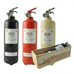 Fire Design merges fire safety and design with decorative fire extinguishers. Beautiful logo. wooden boxes, and packaged like a bottle of wine.