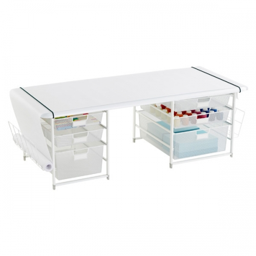 White Elfa Kids' Mesh Coloring Table with Rounded Corners. The Melamine Desk Top is supported by two drawer units with mesh drawers, and a roll of Banner Paper is included. As with all things Elfa, you can adapt the modular pieces to grow as needed.