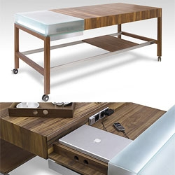 Kitchen Workstation by Schulte Design - Ooooh a giant woody rolling kitchen island, with built in sockets and an ideal laptop hiding space!