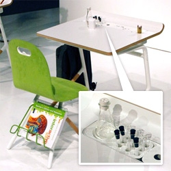 Best find at ICFF this year? Bernhardt Design and the School at Columbia University - Tools at Schools ~ these desks are incredibly versatile and beautiful, housing plants, markers, and more...
