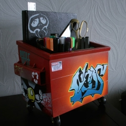 Desktop dumpsters made recycled steel  with urban art style from SteelPlant.