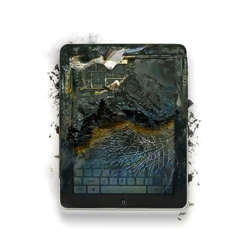 Michael Tompert and Paul Fairchild's series of photographs of smashed, mangled, shot up and melted Apple products are meant to make people think about their relationship with their gadgets.