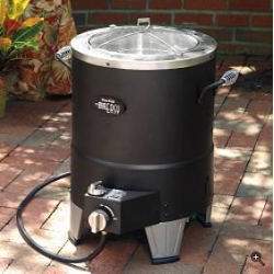 """""""Our Oil-less Turkey Fryer delivers healthier, flavorful turkey in less time, with less fat and cholesterol. Infrared cooking technology penetrates meat evenly and seal in juices, resulting in a moist inside and crispy outside"""""""