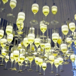We Came In Peace, a creative studio headed by Kim Swift & Andrew Stevens, that builds connective spaces and experiential campaigns. This is the champagne glass chandelier for the Sheraton Social Event in NYC.