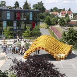 Boxel Pavilion, made from 2,000 Beer Boxes by students from the University of Applied Sciences in Detmold, Germany.