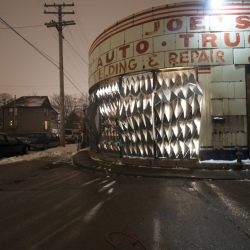 University of Michigan graduate architecture students give a vacant Detroit storefront a metallic facelift.