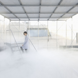 Japanese studio Tetsuo Kondo Architects teamed up with environmental engineering firm Transsolar to encase a cloud inside a transparent two-storey cube.