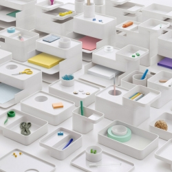 Formwork by London studio Industrial Facility for Herman Miller - a range of stacking containers to store desktop items.