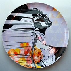 limited edition art printed ceramic plate. (31,5 cm) by Hugo Mulder