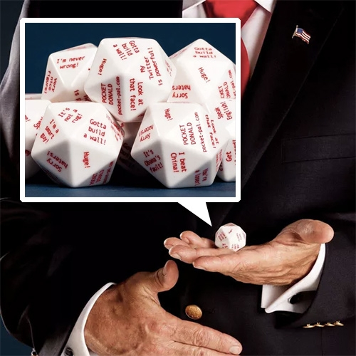 "Pocket Donald from Pocket Pal. A 20 sided dice with ""great advice"" from Donald Trump."