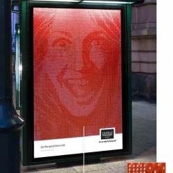 Creative ad shell created with 7563 pieces of dice by  Junior ad agency, Brisbane. The bus-shelter ad is for Treasury Casino.