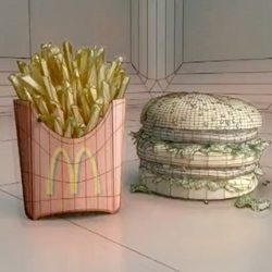 This video of a Big Mac, fries, and soda, starts out like food porn, but the simulation starts to break down, revealing that the fast food is entirely digitally rendered.