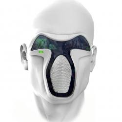 frog Design's concept facemask would let you escape reality by augmenting or replacing what you see, smell, and hear with sensory inputs of your own choosing.