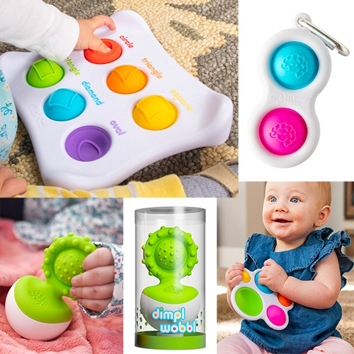 "The Dimpl Collection from Fat Brain Toys are perfect for babies (and as all ages fidget toys!) There's something so satisfying about pushing the silicone dimpl ""buttons""... and the latest Dimpl Wobbl is mesmerizingly fun for babies."