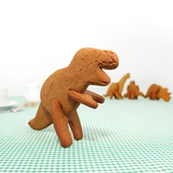 Bake your own 3D Dinosaur. Cookie cutters in the shape of dinosaur body parts. Slot cookies together to make edible dinosaurs that will stand up your plate. (Triceratops, Stegosaurus, Brachiosaurus and T-Rex).