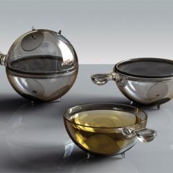 Futuristic tea set design by Vuk Dragovic.