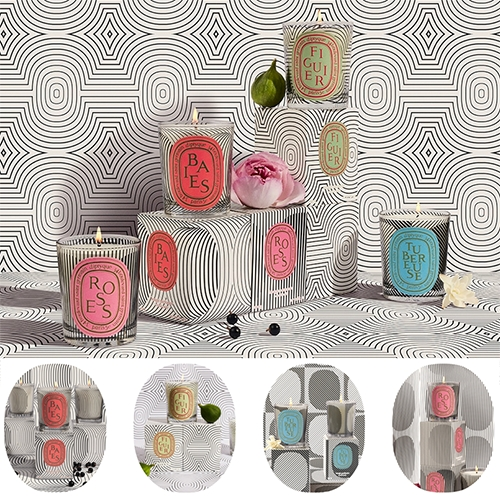 The Diptyque Graphic Collection candle collection features hypnotic black lines that pull at NOTCOT heartstrings hard... the patterned backgrounds and animated gifs on the page are stunning! (Especially Berries!)